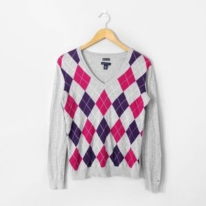 TOMMY HILFIGER Grey Pink Argyle V Neck Sweater